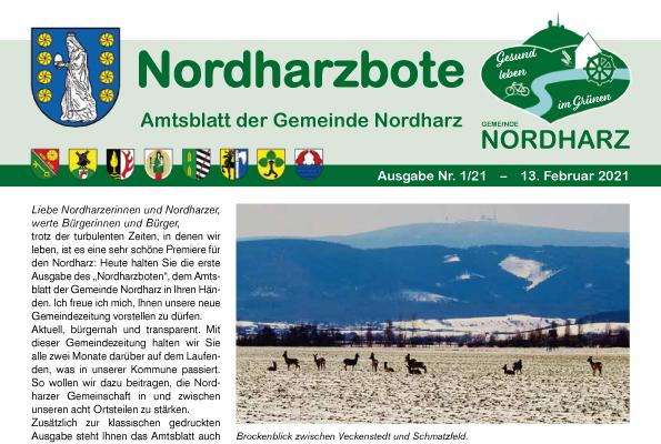 Titelseite des ersten Nordharzboten